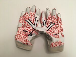 T) University of Virginia UVA Cavaliers Football Game Worn Nike Logo Gloves