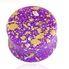 "PAIR-Splatter Purple Acrylic Double Flare Plugs 12mm/1/2"" Gauge Body Jewelry"