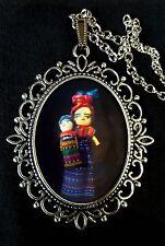 Worry Doll Large Antique Silver Pendant Necklace Mexico Guatamala Muñeca Quitape