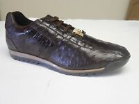 Studio Belvedere Men's Forde Leather Brown Nicotine Ostrich Caiman Dress Sneaker