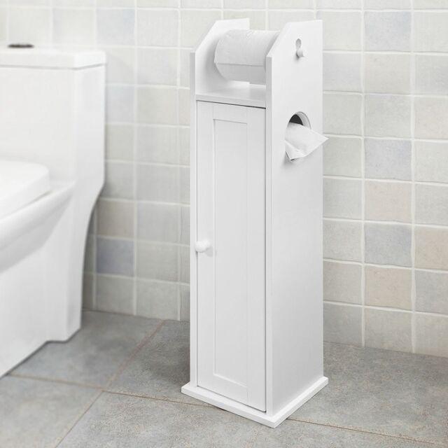 SoBuy Wood Bathroom Storage Cabinet Toilet Paper Roll Holder Frg135 ...