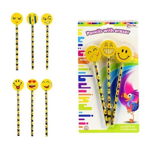12 Bleistift mit Radiergummi Smiley Schule Büro Mitgebsel Tombola Geburtstag