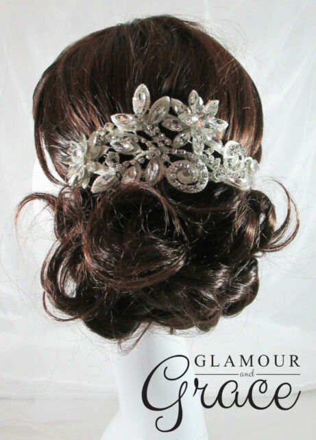 Lola vintage wedding bridal crystal lace headband hair accessories headpiece