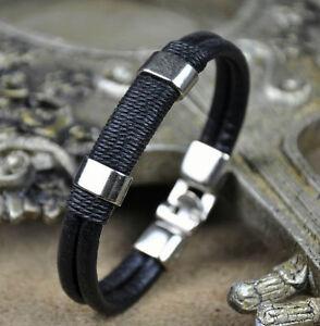 Black-Mens-Surfer-Cool-Metal-Hemp-Leather-Wristband-Bracelet-Cuff