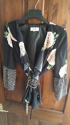 Nine Savannah Miller black floral spotty ruffle wrap blouse uk 10