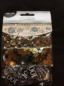 Image Is Loading 100th Birthday Confetti Table Decoration Sprinkle Black Silver