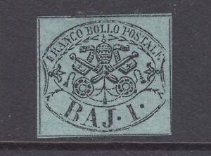 Roman States Sc 2a MLH. 1852 1B black on blue green Papal Arms, fresh