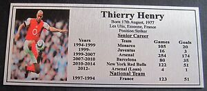 Soccer THIERRY HENRY picture SilverSublimated Plaque NEW Free Postage