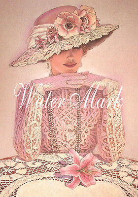 *QUILT ART FABRIC BLOCK*TWO  5X7*BEAUTIFUL GIRL IN PINK HAT*CHARMING