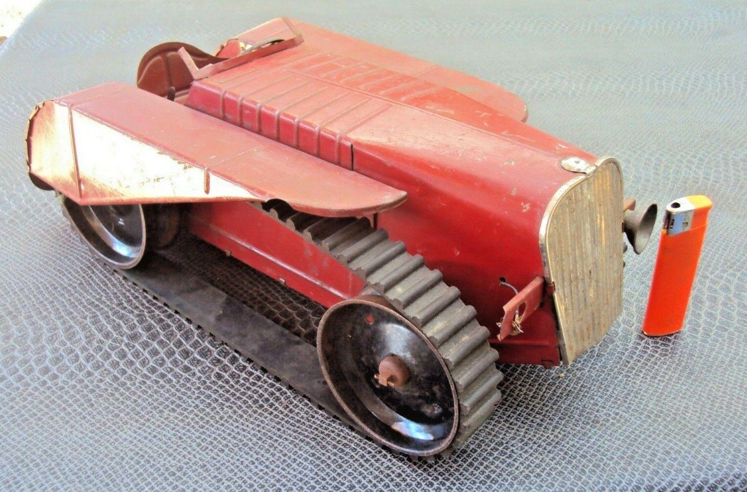 ancien jouet tracteur à chenille en tôle début 20 ème