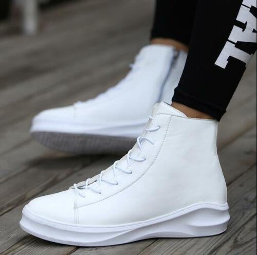 White Men High Top Breathable Sneakers Lace Up Heel Ankle Boots Side Zipper Shoe