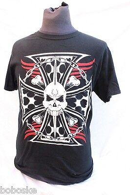 """T-shirt 100% Coton """"skull Croix De Malte"""" Coupe Homme Manche Courte"""