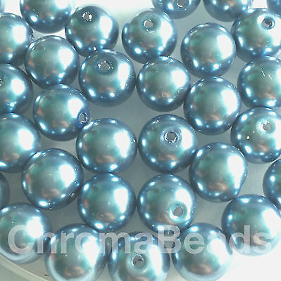 40 round beads 10mm Glass faux Pearls jewellery making craft Teal