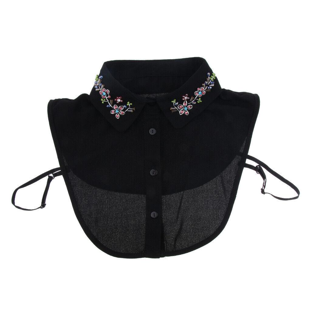 Women Fake Collar Beaded Crystals Half Blouse Shirt False Collar - Black Design
