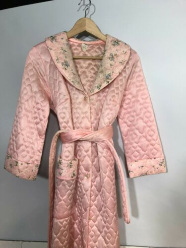 Vintage Hostess Robe Dress  12 Quilted Pink Large
