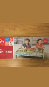 Details About New Carousel Wooden Train Table With 56 Piece Train Set