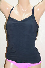 *NEW Profile Gottex Black Solid Shirred Front Underwire Tankini Top 40D #FP1