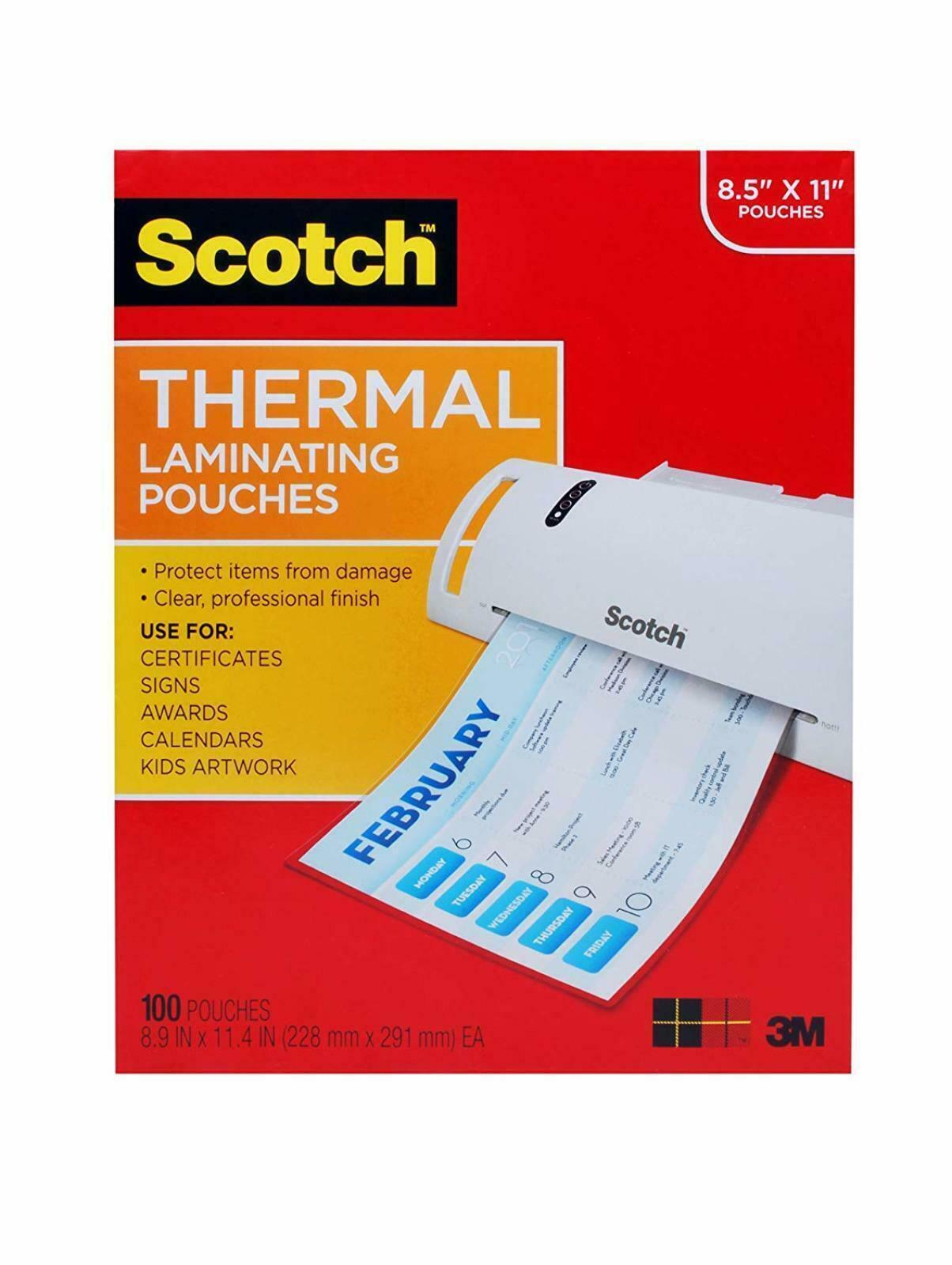100-Pack Pack of 2 Letter Size Sheets 8.9 x 11.4 inches TP3854-100 Scotch Thermal Laminating Pouches