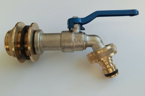 """1 /"""" Implementation with 3//4 /"""" Outlet Tap for Rain Barrel Water Barrel Ibc #17 G"""