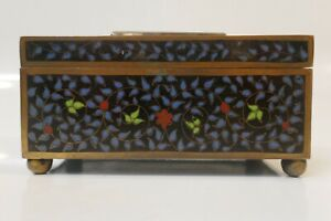 20th-Century-Chinese-Multi-Color-Cloisonne-Box-With-Jade-Insert-On-Lid
