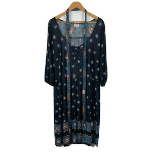 Leona-Edmiston-Womens-Dress-Size-3-AU-12-16-Black-Floral-Long-Sleeve-With-Belt