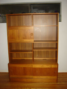 Image Is Loading Teak China Cabinet Hutch Bookshelf Credenza MCM Shelves