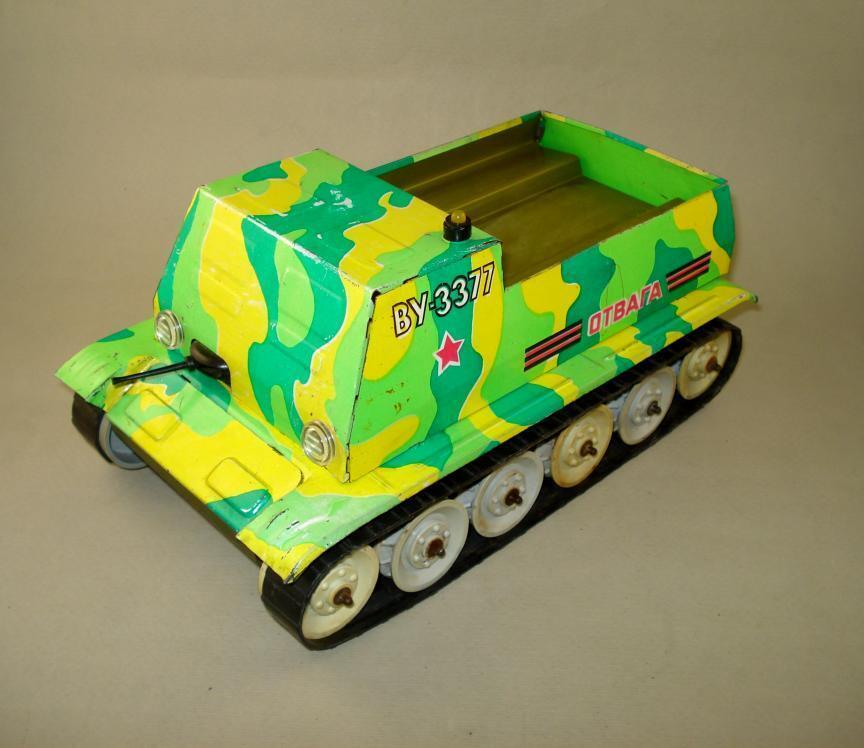 Jahr Russian USSR Tin Spielzeug Artillery Tractor Combat Continuous Vehicle Batt Op