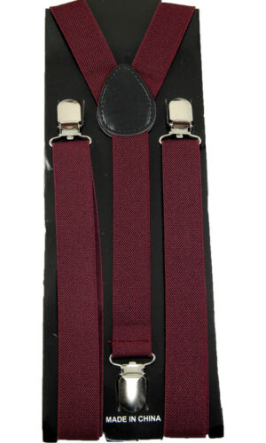 "Unisex Clip-on Braces Elastic /""Burgundy/"" Y-back Suspender"