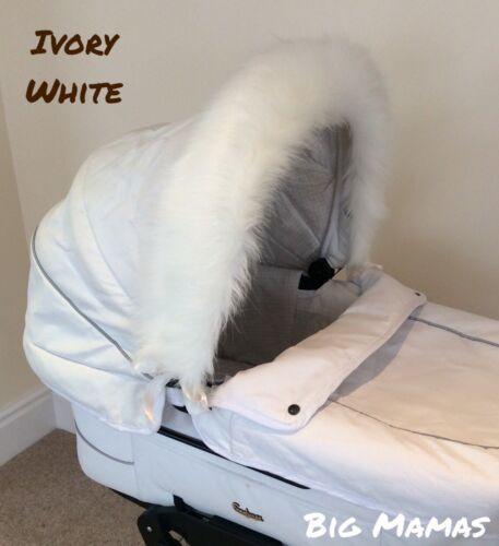 Luxe Landau Fur Hood Trim-Ivoire blanc-Long Moelleux Fourrure synthétique-Fit tout pour bébé