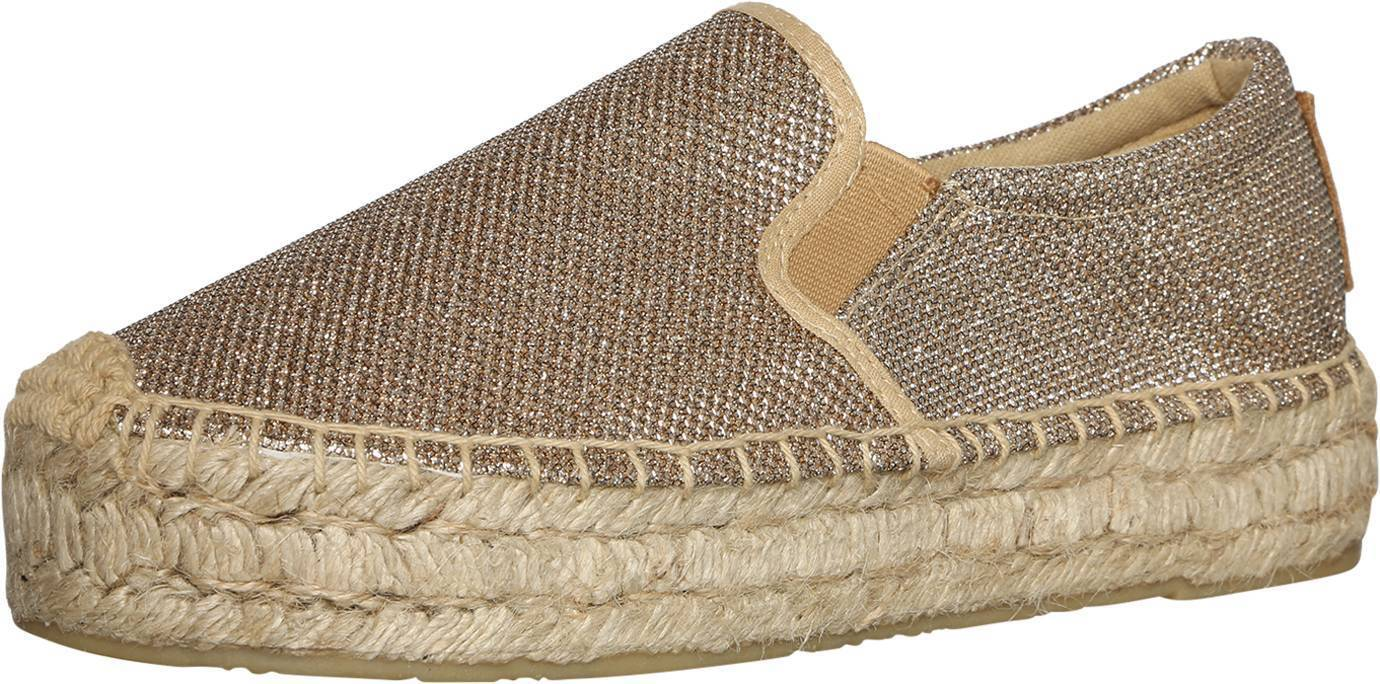 Replay Momen's Nesia Slip On Glitter Effect Canvas Espadrilles Gold