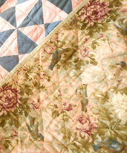 Antique French Floral Cotton Fabric ~Rose Pink Chartreuse Yellow Blue~Doll Quilt