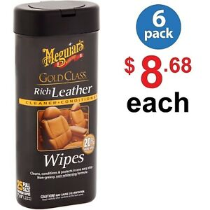 Meguiar-039-s-Gold-Class-Rich-Leather-Cleaner-amp-Conditioner-25-count-6-Pack