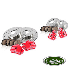 Front and Rear Red Brake Calipers and Rotors Pads 1999 2000 HONDA CIVIC Si COUPE