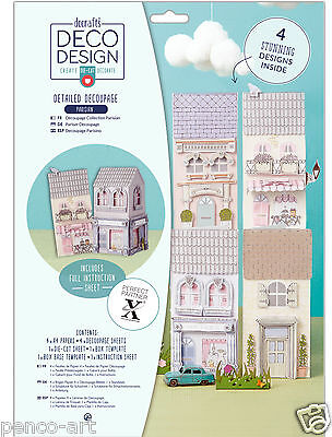 Docrafts A4 DECO DESIGN decoupage Parisian houses paper sheets use with xcut die