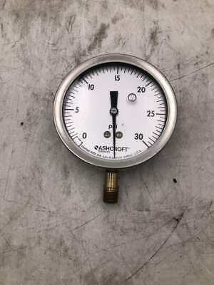 "Ashcroft 4"" Liquid Filled Air Pressure Gauge 0-30psi Hydraulics, Pneumatics, Pumps & Plumbing 1/4"" Hvac Gauges"