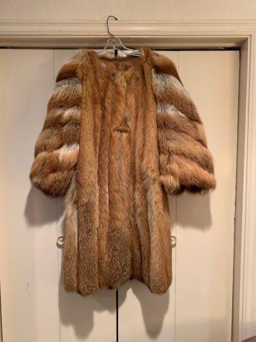 Red fox fur coat Multi Color 3/4 Length