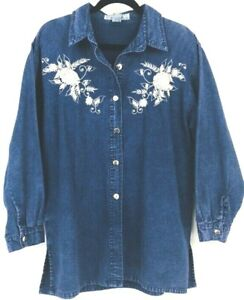 Exclusive-By-Whispers-Jean-Denim-Button-Front-Long-Sleeve-Shirt-Blouse-Size-L