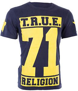True Religion Para Hombre S S T Shirt Verdadero 71 Estrellas Disenador Blue Jeans S 3xl 105 Ebay