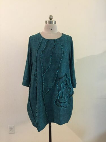Top Fray Flower PEACOCK WAYS Linen-Cotton Tunic
