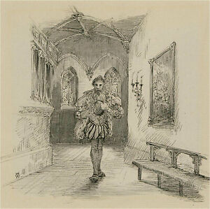 R.G. - Late 19th Century Pen and Ink Drawing, Elizabethan Gentleman