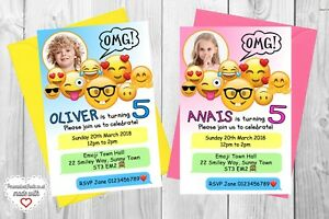 Image Is Loading 10 Personalised Emoji Movie Birthday Party Invitations Invites