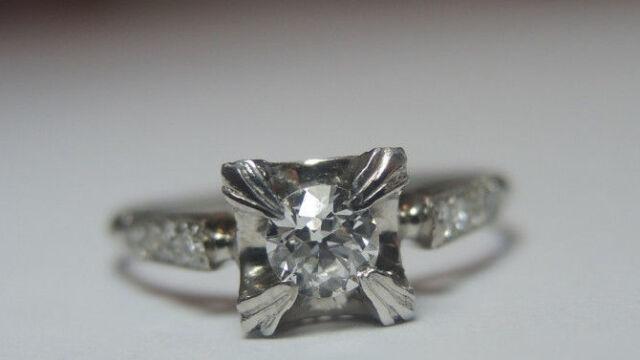 Antique Vintage Diamond Engagement Ring Platinum Ring Size 6.25 UK-M EGL USA
