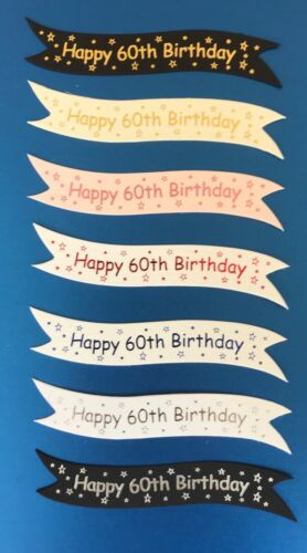 card toppers embellishments on quality boards pk10 Happy 60th Birthday banners