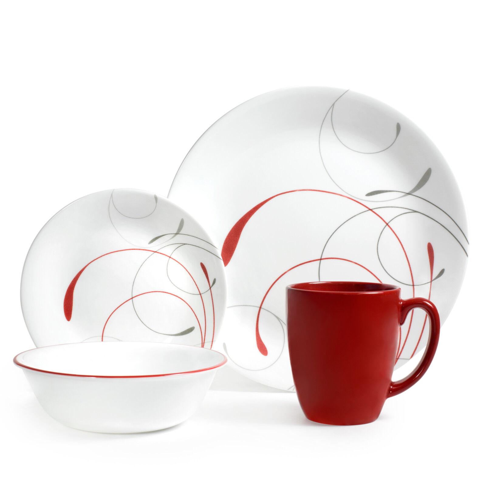 Corelle White Dinnerware Set 16 Piece Dishes Plates Bowls Kitchen Round Glass