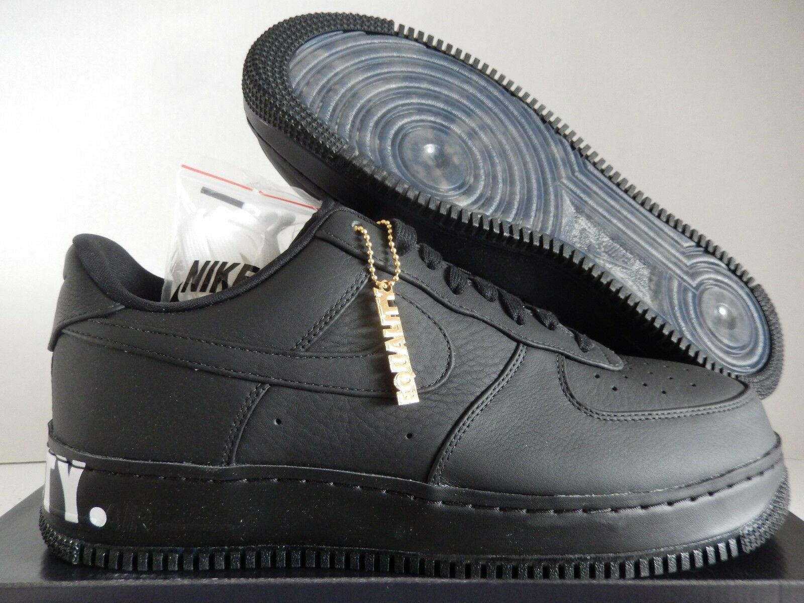 NIKE AIR FORCE 1 CMFT EQUALITY QS BLACK-BLACK-WHITE-GOLD SZ 12 [AQ2125-001]