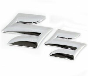 New-Suzuki-Car-Chrome-Plated-S-Logo-Monogram-Badge-2-Units