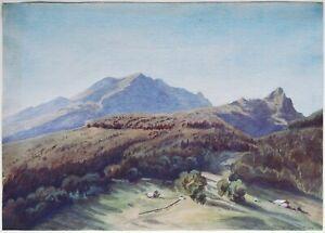 Heinrich von Mayr 1806-1871: orig.Aquarell 1866 Schweizer Almen Alpen-Landschaft
