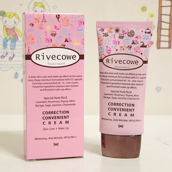 Rivecowe CC Cream, Upgrade BB Skin Care + Make up Foundation 40ml SPF40 PA++
