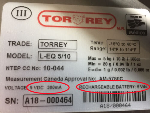 21900003 Tor-rey Scale Replacement Battery