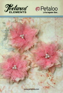 Burlap-amp-Lace-TEXTURED-3-Flower-Pk-PINK-with-Tri-Pearl-Centre-60-65mm-Petaloo-K